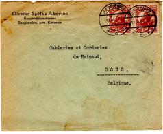 Lettre De Szopienice (17.03.1927) Pour Dour Belgique - 1919-1939 Republic