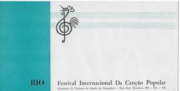 """Enveloppe Vierge  """"Festival Internacional Da Cançao Popular"""" Secretaria De Turismo Do Estado Da Guanabara - RIO - Musique & Instruments"""