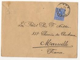 LETTRE DE MONBASA KENYA DE 1913 POUR MARSEILLE - Kenya & Ouganda