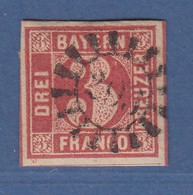 Bayern 3 Kreuzer Rot Mi.-Nr. 9 Gestempelt Mit GMR  - Bavaria