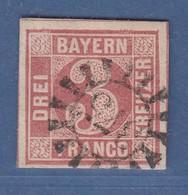 Bayern 3 Kreuzer Rot Mi.-Nr. 9 Gestempelt Mit GMR 375 Ortenburg - Bavaria