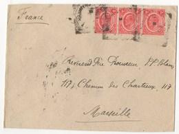 LETTRE DE 1909 CACHET AU DOS DE ZANZIBAR POUR MARSEILLE - Kenya, Uganda & Tanganyika