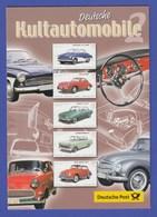 """Deutschland 2003 Faltblatt """"Deutsche Kultautomobile"""" Mit Mi.-Nr. 2362-2366 - Auto's"""
