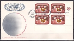 UN/New York/1967 - Hands Holding UN - 5 C Block - FDC Geneva Cachet - New-York - Siège De L'ONU