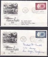 UN/New York/1956 - Human Rights Day - Set - 2 X FDC - New-York - Siège De L'ONU