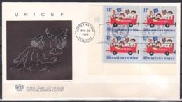 UN/New York/1966 - UNICEF - 10 C Block - FDC - New-York - Siège De L'ONU