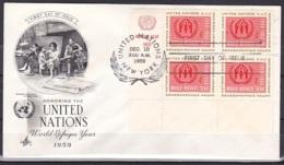 UN/New York/1959 - World Refugee Year - 4 C Block - FDC - New-York - Siège De L'ONU