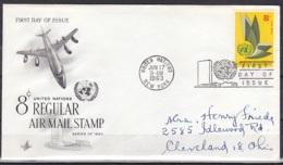 UN/New York/1963 - Air Mail - 8 C - FDC - New-York - Siège De L'ONU