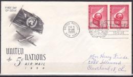 UN/New York/1959 - Air Mail - 5 C - FDC - New-York - Siège De L'ONU