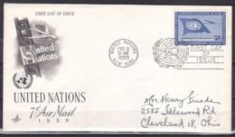 UN/New York/1959 - Air Mail - 7c - FDC - New-York - Siège De L'ONU