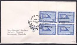 UN/New York/1959 - Air Mail - 7c Block - FDC - New-York - Siège De L'ONU