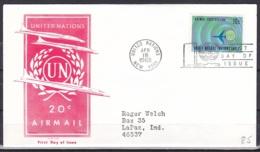 UN/New York/1968 - Air Mail - 20 C - FDC - New-York - Siège De L'ONU