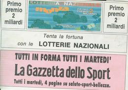 """""""LA GAZZETTA DELLO  SPORT"""", PUBBLICITA SU CARTOLINA LOTTERIA NAZIONALE, 1992, VIAGGIATA, - Cartes Postales"""