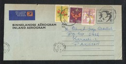 South Africa 1977 Air Mail Postal Used Inland Aerogramme Cover With Stamp Suid Afrika To Pakistan Flower Birds - Afrique Du Sud (1961-...)