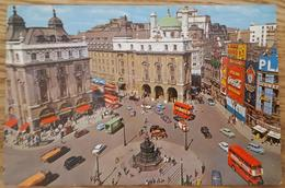 LONDON UK - PICCADILLY CIRCUS Vg To Italy 1959 - Coca Cola Bus Double Deckers Cars Traffic Schweppes - Piccadilly Circus