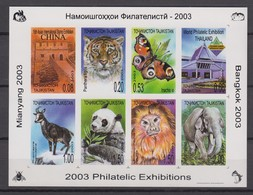 Tajikistan 20.05.2003 IMPERF Mi # 276-83 Kleinbogen B, Philatelic Exhibitions MIANYANG 2003, BANGKOK 2003, Fauna, MNH OG - Tadjikistan
