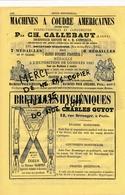 PUB ANNEE 1866 Maison De La Belle Jardinière Machine à Coudre Système Singer CALLEBAUT Bretelles Charles GUYOT à Paris - Publicités