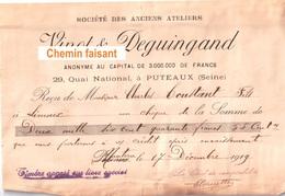 Document Du 17:12:1919 VINOT DEGUINGAND Puteaux 92 - 1900 – 1949