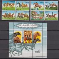 Tajikistan 15.10.2002 Mi # 239-46 Viererblocks Bl 31, Equestrian Sports , Year Of The Horse, MNH OG - Tadjikistan