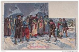 Illustrateur Paul Kauffmann - Usages Et Costumes D´Alsace - N° 23 (Noël : La Messe De Minuit) - (2 Scans) - Kauffmann, Paul