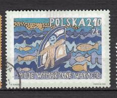 ##25, Pologne, Poland, Polska, Dessin D'enfant, Children Drawing, Poisson, Fish, Bateau, Boat, Voile - 1944-.... Republic