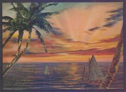 3D Plastic POSTCARD - Sunset At Sea - Cartes Postales