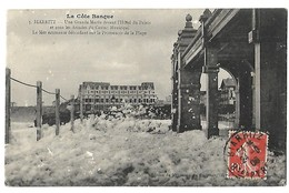 64 BIARRITZ MAREE ECUME DE MER 1908 CPA 2 SCANS - Biarritz