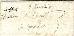 """1723- Lettre De  """" De Calais """" Manuscrit Taxe 3 Sols Pour Gravelines - Marcophilie (Lettres)"""