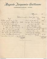 39 LONGCHAUMOIS Près MOREZ  FACTURE 1920 Lapidaire Pierrres JACQUEMIN GUILLAUME  Y77 - Transport