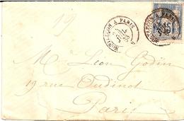 1E4 --- Ambulant De Nuit   MONTLUCON A PARIS   B      Sage - Marcophilie (Lettres)