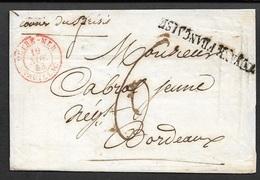 1843 LSC - COLONIES - GUYANE FRANÇAISE - Par BRESIL - A BORDEAUX - Postmark Collection (Covers)