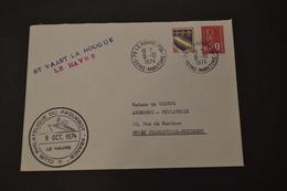Paquebot FRANCE Greve 9/10/1974 ST Vaast La Hougue En Bleu + Le Havre En Rouge - Marcophilie (Lettres)