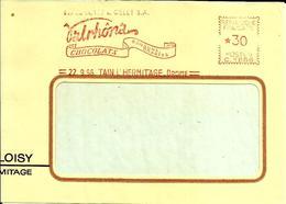 EMA  C  Valrhona Chocolas Alimentation Tain L'hermitage 1956 A73/28 - Marcofilia (sobres)
