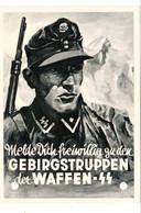 Propaganda Karte , GEBIRGSTRUPPEN Der Waffen - SS - Weltkrieg 1939-45