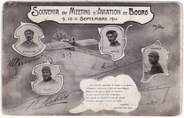 01 SOUVENIR DU MEETING D'AVIATION DE BOURG  9.10.11 Septembre 1911 (signatures Des Pilotes) - Bourg-en-Bresse