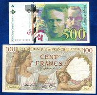 LOT 2 BILLETS FRANCE 500FR-100FR - Autres