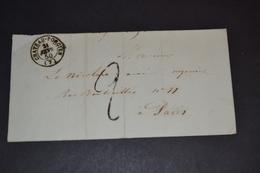 Lettre 1850 Château Porcien Pour Paris Lettre Taxé - Marcophilie (Lettres)
