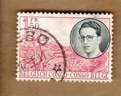 Congo Belge.(COB-OBP)  1955 - N°329    *VOYAGE ROYAL AU CONGO*   1,50F   Oblitéré - 1947-60: Oblitérés