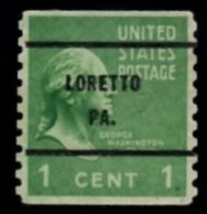 """USA Precancel Vorausentwertung Preo, Locals """"LORETTO"""" PA). Roulette. - Stati Uniti"""