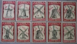 Tabac Le Réveil L.Dauw Appelterre: 10 Etiketten Molens (Safety Match) - Boites D'allumettes - Etiquettes