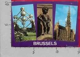 CARTOLINA VG BELGIO - BRUSSELS - BRUXELLES - Atomium - Grand Place - Manneken Pis  - 10 X 15 - ANN. 1977 - Monumenti, Edifici