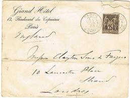 ENVELOPPE  A EN-TETE GRAND HOTEL PARIS ADRESSEE A LONDRES ETAT DEF. - Marcophilie (Lettres)
