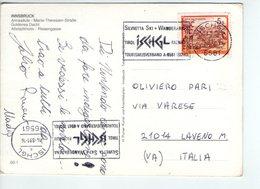 U3962 Nice Timbre SILVRETTA SKI + WANDERARENA On Postcard INNSBRUCK, ANNASAULE MARIA THERESINE STRASS - Innsbruck