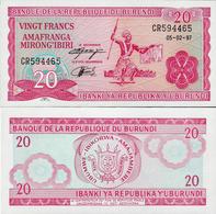 Burundi 1997 - 20 Francs - Pick 27 UNC - Burundi