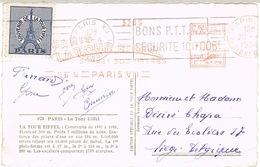 O.MEC RBV BONS PTT SUR EMA TOUR EIFFEL AVEC VIGNETTE CPSM POUR LA BELGIQUE - Postmark Collection (Covers)