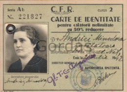 Romania - Train Season Ticket - 1942 - Fiscal Stamps - Abonnements Hebdomadaires & Mensuels