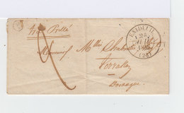 Sur Pli Avec Correspondance Grand CAD Exideuil 23 Du 24 Juil. 1848. B2 Dans Cercle. Oblitération Manuelle. (908) - Marcophilie (Lettres)