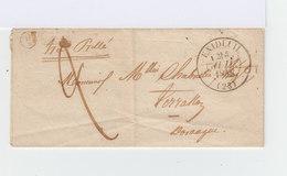 Sur Pli Avec Correspondance Grand CAD Exideuil 23 Du 24 Juil. 1848. B2 Dans Cercle. Oblitération Manuelle. (908) - 1801-1848: Precursors XIX