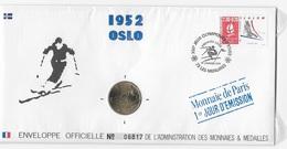 Enveloppes Officielle Monnaie De Paris 1er Jour D'émission Les Menuires Sous Blister - Briefmarkenausstellungen