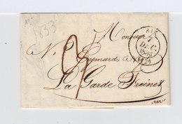 Sur Pli Avec Correspondance Gros CAD Aix 7 Déc. 1833. Oblitération Manuscrite. CAD Le Luc. (910) - Marcophilie (Lettres)